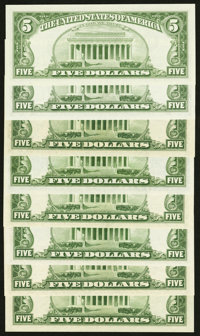 A Varied Selection of Eight Earlier Series $5 Federal Reserve Notes. Crisp Uncirculated or Better
