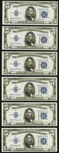 Small Size:Silver Certificates, Fr. 1651 $5 1934A Silver Certificates. Six Consecutive Examples. Choice Crisp Uncirculated.. ... (Total: 6 notes)