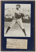 Autographs:Checks, 1930 Ty Cobb Signed Personal Check Display....