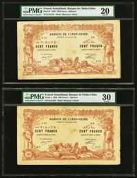 French Somaliland Banque de l'Indochine, Djibouti 100 Francs 2.1.1920 Pick 5 Six Examples PMG Very Fine 20 (2); Ve
