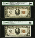 Small Size:World War II Emergency Notes, Fr. 2304 $20 1934 Mule Hawaii Federal Reserve Note. PMG Very Fine 30;. Fr. 2305 $20 1934A Hawaii Federal Reserve Note. PMG... (Total: 2 notes)