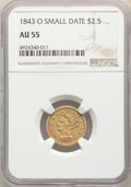 Liberty Quarter Eagles, 1843-O $2 1/2 Small Date, Crosslet 4 AU55 NGC. NGC Census: (166/268). PCGS Population: (46/83). CDN: $550 Whsle. Bid for NG...
