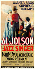 "Movie Posters:Musical, The Jazz Singer (Warner Bros., 1927). Fine on Linen. Three Sheet (41"" X 80.25"").. ..."