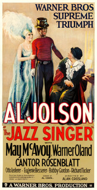 "The Jazz Singer (Warner Bros., 1927). Fine on Linen. Three Sheet (41"" X 80.25"")"