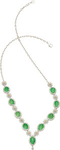 Estate Jewelry:Necklaces, Jadeite Jade, Diamond, Yellow Sapphire, White Gold Necklace. ...