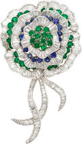 Estate Jewelry:Brooches - Pins, Diamond, Sapphire, Emerald, Platinum Brooch. ...