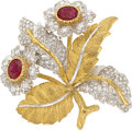 Estate Jewelry:Brooches - Pins, Ruby, Diamond, Gold Clip-Brooch, M. Buccellati. ...