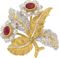 Ruby, Diamond, Gold Clip-Brooch, M. Buccellati