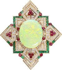 Opal, Diamond, Ruby, Emerald, Gold Pendant