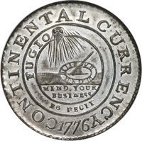 1776 $1 Continental Dollar, CURRENCY, Pewter, EG FECIT, MS65 NGC. Newman 3-D, W-8460, R.4
