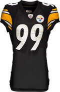 Football Collectibles:Uniforms, 2011 Brett Keisel Game Worn & Unwashed Pittsburgh Steelers Jersey - NFL Auction COA!...