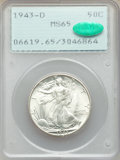 Walking Liberty Half Dollars: , 1943-D 50C MS65 PCGS. CAC. PCGS Population: (3407/2140). NGC Census: (1830/1657). CDN: $120 Whsle. Bid for problem-free NGC...