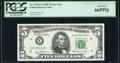 Small Size:Federal Reserve Notes, Fr. 1976-E* $5 1981 Federal Reserve Star Note. PCGS Gem New 66PPQ.. ...