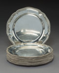 Twelve David Willaume II Silver Dinner Plates, London, 1737 Marks to nine: (lion passant), (crowned leopard's head