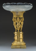 Decorative Accessories, A Napoleon III-Style Gilt Bronze Figural Stand with Cut-Glass Bowl, late 19th century. 24-1/2 x 16-1/2 inches (62.2 x 41.9 c...
