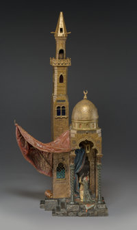 A Franz Bergman Cold-Painted Bronze Table Lamp: Call to Prayer, Austria, late 19th-early 20th c