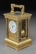 Clocks & Mechanical, A L'Epee Gilt Brass Repeater Carriage Clock, 20th century. Marks: L'Epie Fonde en 1839 Sante Luxanne France; Made in Franc...