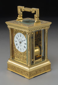 A L'Epee Gilt Brass Repeater Carriage Clock, 20th century Marks: L'Epie Fonde en 1839 Sante Luxanne France; Mad