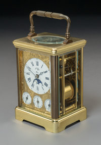 A L'Epee French Gilt Brass Moon-Phase Repeater Calendar Carriage Clock, 20th-century Marks: L'Epee Fran
