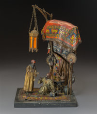 An Anton Chotka Cold Painted Bronze Table Lamp: The Jewelry Seller, Austria, circa 1900 Mark