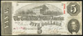 Confederate Notes:1863 Issues, T60 $5 1863 PF-1 Cr. 448 Very Fine.. ...
