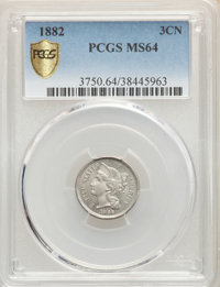 1882 3CN MS64 PCGS. PCGS Population: (36/46 and 1/1+). NGC Census: (15/21 and 0/0+). CDN: $850 Whsle. Bid for problem-fr...