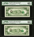 Error Notes:Third Printing on Reverse, Overprint on Back Consecutive Pair Fr. 2024-L $10 1977A Federal Reserve Note. PMG Graded. . ... (Total: 2 notes)