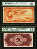 China Ta Ch'ing Government Bank 5 Dollars ND (1910) Pick A80cts1; A80cts2 S/M#T10-41 Front And Back Color Trial Specimen...