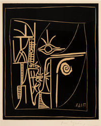 Pablo Picasso (1881-1973) Tête, 1963 Linocut in colors on Arches paper 25-1/4 x 20-3/4 inches (64