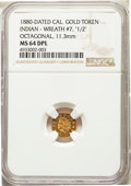 "California Gold Charms, 1880-Dated California Indian, Octagonal, Wreath #7, ""1/2"" MS64 Deep Prooflike NGC. ..."