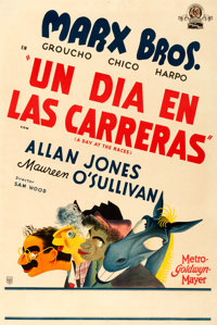 "A Day at the Races (MGM, 1937). Very Fine- on Linen. Argentinean One Sheet (29"" X 43"") Al Hirschfeld Artwork..."