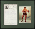 Boxing Collectibles:Memorabilia, 1969 Archie Moore Handwritten & Signed Application For Manager's License Display. ...