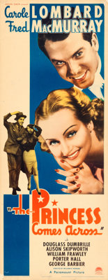 """The Princess Comes Across (Paramount, 1936). Rolled, Very Fine-. Insert (14"""" X 36"""")"""
