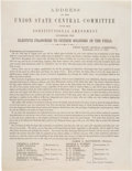 Miscellaneous:Broadside, Pro-Lincoln 1864 Broadside, Address of the Union State Central Committee....