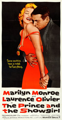 """The Prince and the Showgirl (Warner Bros., 1957). Folded, Very Fine+. Three Sheet (41"""" X 79"""")"""