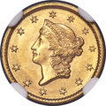 1849 G$1 Open Wreath MS65 NGC. D-4
