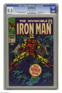 Iron Man #1 (Marvel, 1968) CGC VF+ 8.5 Off-white to white pages. Origin retold. Gene Colan cover and art. Overstreet 200...