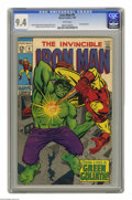 Silver Age (1956-1969):Superhero, Iron Man #9 (Marvel, 1969) CGC NM 9.4 White pages. Iron Man battles an android disguised as the Hulk. George Tuska cover. Tu...