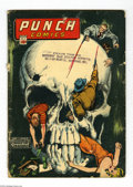Golden Age (1938-1955):Crime, Punch Comics #12 (Chesler, 1945) Condition: GD-. Classic skull cover. Rocket Boy and Captain Glory appear. Large piece off b...