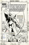 Original Comic Art:Covers, June Brigman and Roy Richardson - Avengers Spotlight #21 CoverOriginal Art (Marvel, 1989). Hawkeye faces down a biker gang ...