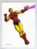 Original Comic Art:Splash Pages, J. E. Smith - Iron Man Pin-Up Original Art (2004). Engines roar,and a high tech beam blasts from the open palm of the invin...