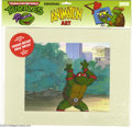 Original Comic Art:Miscellaneous, Teenage Mutant Ninja Turtles - Raphael Animation Cel (MWS Inc., 1991). Raphael takes a stand in the park. The cel is still s...