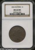Large Cents: , 1804 1C Restrike MS64 Brown NGC....