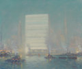 Fine Art - Painting, American, Johann Berthelsen (American, 1883-1972). United Nations Building from the East River, circa 1950-52. Oil on canvas. 20 x...