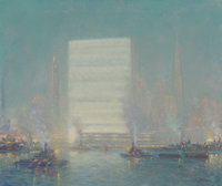 Johann Berthelsen (American, 1883-1972) United Nations Building from the East River, circa 1950-52 O