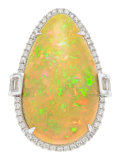 Estate Jewelry:Rings, Opal, Diamond, White Gold Ring, M. Oliva. ...