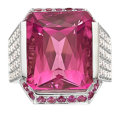 Estate Jewelry:Rings, Pink Tourmaline, Diamond, Pink Sapphire, White Gold Ring. ...