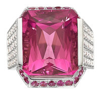 Pink Tourmaline, Diamond, Pink Sapphire, White Gold Ring