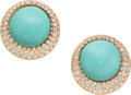 Estate Jewelry:Earrings, Turquoise, Diamond, Rose Gold Earrings. ...