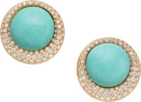 Turquoise, Diamond, Rose Gold Earrings